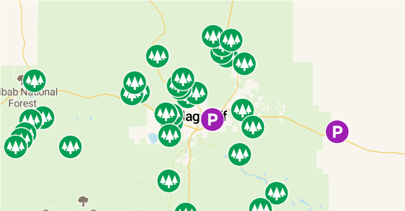 Campendium designates public lands with green pins. Purple pins denote spots that are great for quick overnight parking.