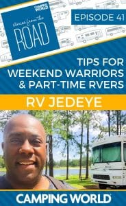We brought the RV Jedeye back on the podcast to talk about hurricane safety tips, work/life balance for Weekend Warriors, and his favorite RV cooking recipes. #rvlife #rvcampers #rvhack #rvliving #camper #camping #campertrailers #camperlife #happycamper #fulltimerving #fulltimervlife #storiesfromtheroad #digitalnomad