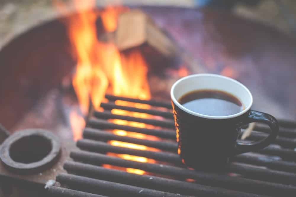 Coffee at a campfire