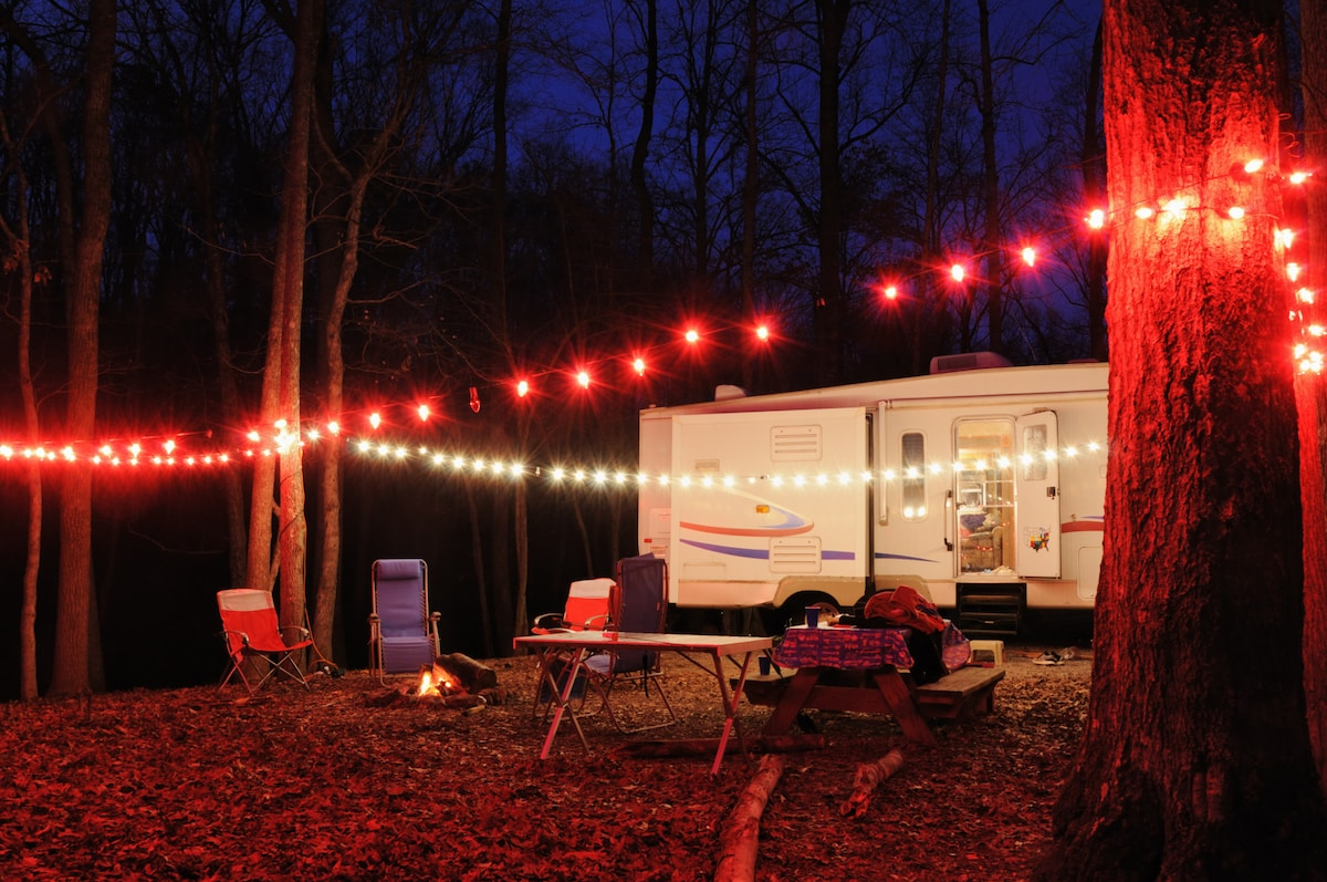 Campsite in the evening decorated for the holidays