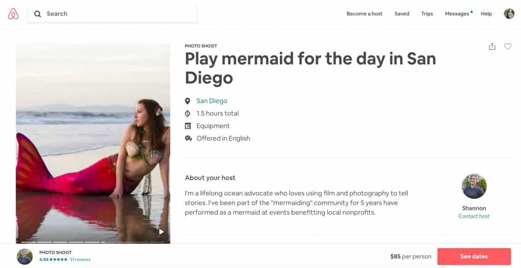 Things to do on your RV trip - Airbnb Experiences - Mermaid.jpeg