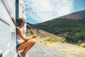 A woman preparing for an RV camping trip