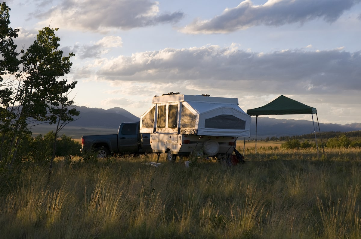 Pop Up Camper in Mountains