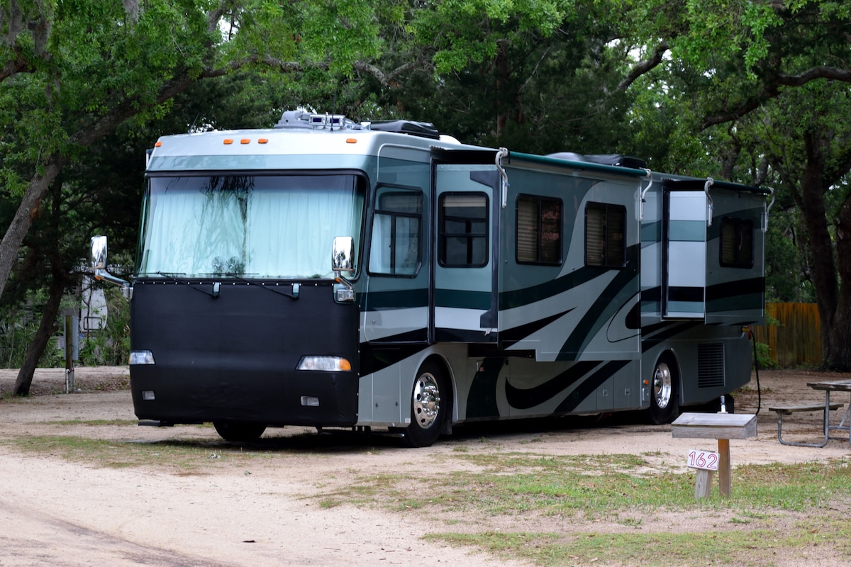 Recreational vehicle at campsite Florida, USA, with slides