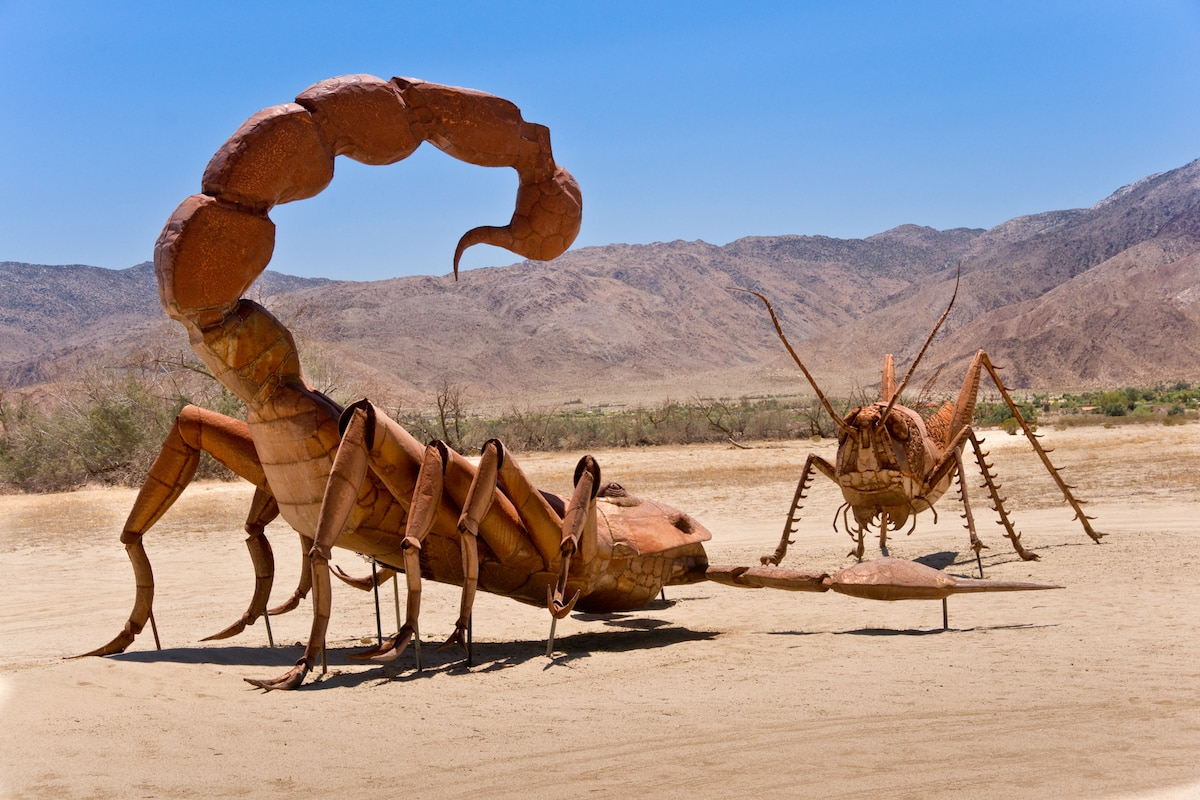 Borrego Springs, California, USA - June 25, 2012: A giant Scorpion and Grasshopper join the sculpture collection of prehistoric animals on permanent display at Galetta Meadows. (Borrego Springs, California, USA - June 25, 2012: A giant Scorpion an