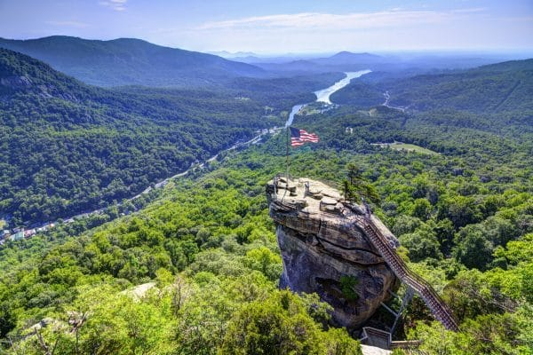 Chimney Rock at Chimney Rock State Park in North Carolina, USA.