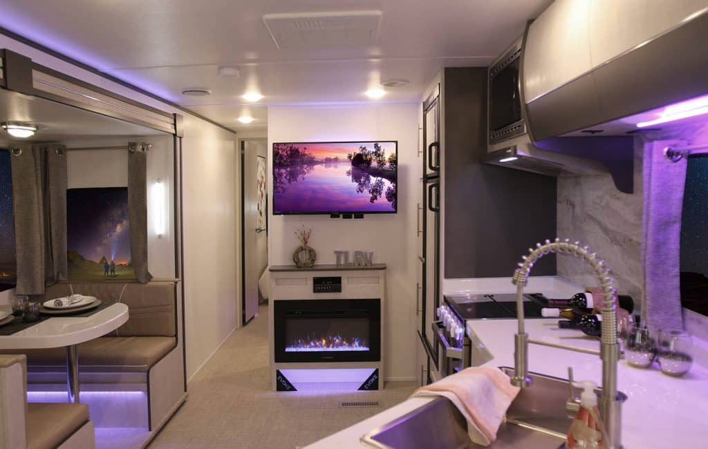 Travel Lite RV's EVOKE series all have bright, modern interiors with plenty of ambient lighting.