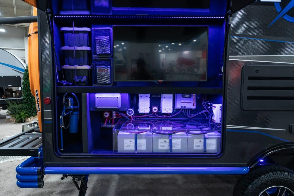 The incredible battery bank of K-Z's Venture RV Sonic X travel trailer concept.