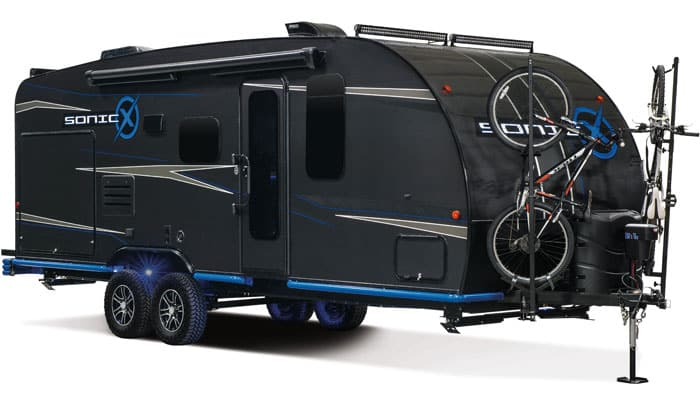 K-Z's Venture RV Sonic X concept travel trailer had a carbon fiber wrap as well as rock sliders all around.