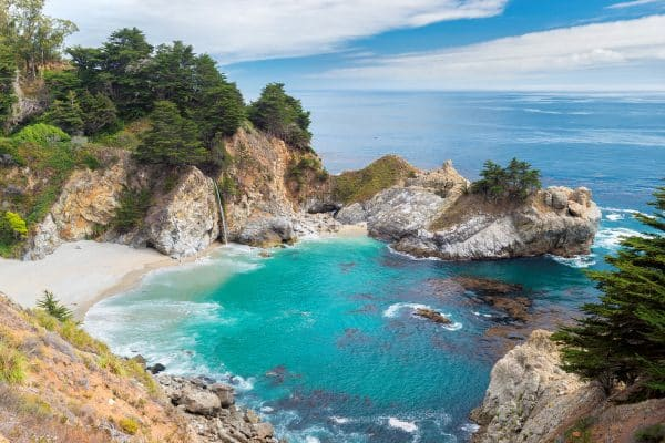 Beautiful Beach and Falls, Julia Pfeiffer Beach, McWay Falls, Big Sur, California