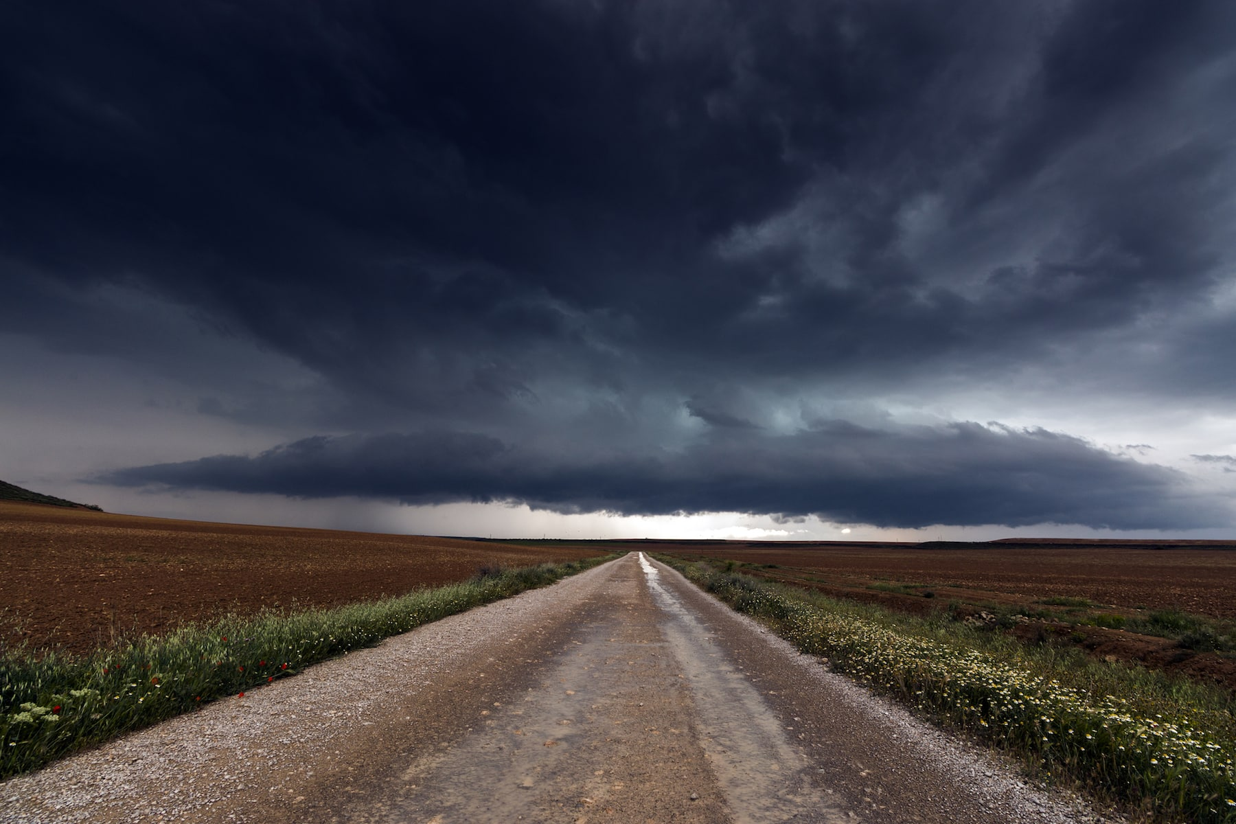 Landscape With Road and Storm on the Horizon