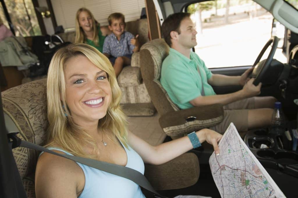 Family in RV on a Road Trip