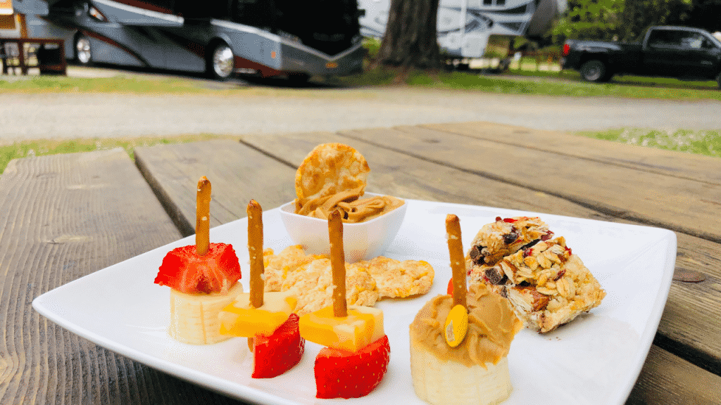 Fruit and cheese pretzel kabobs are the perfect combination of fresh fruit and some protein from the cheese cubes. There are so many options of soft fruit and cheese that you can stack on pretzel sticks: bananas, grapes, kiwi, melon, strawberries, and so many more.