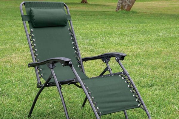 reclining camp chair with a footrest