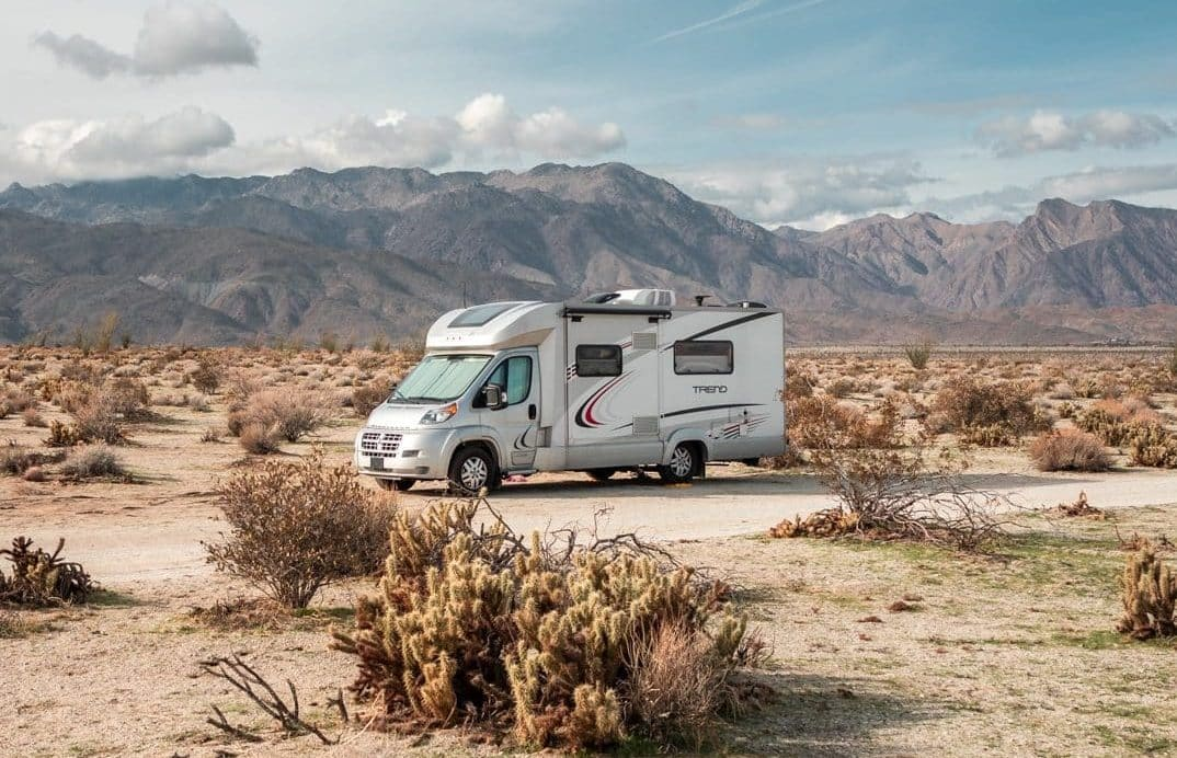 camping in the desert in an RV
