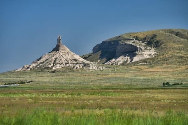 A famous natural rock formation along the Oregon Trail in the Nebraska panhandle.