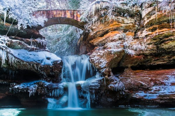 Hocking Hills Ohio in winter