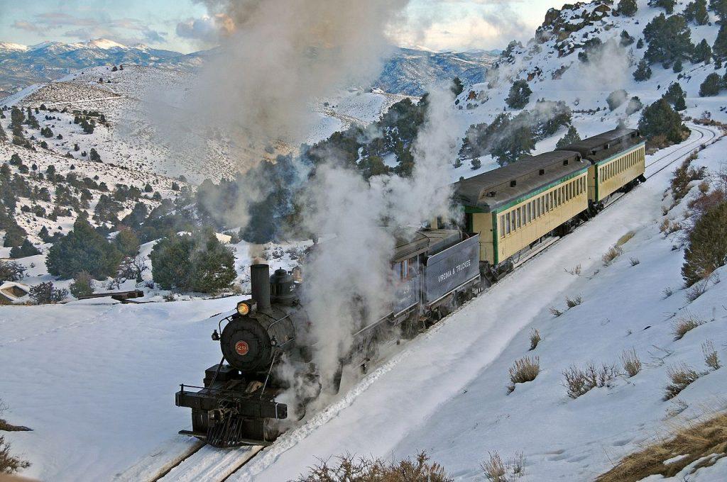 Virginia & Truckee Railway in Snow