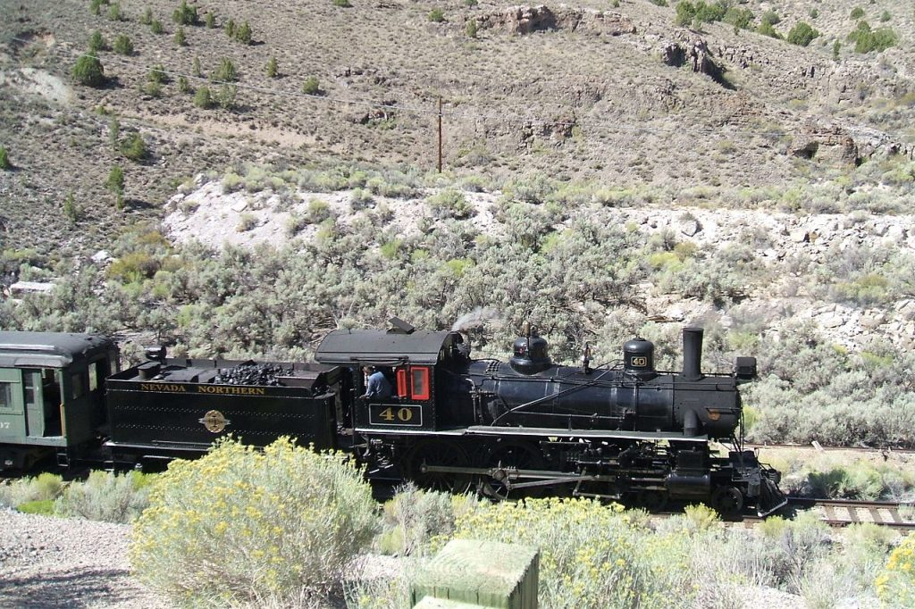 Nevada Northern Train on Tracks
