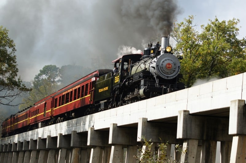 Texas State Railroad on the tracks