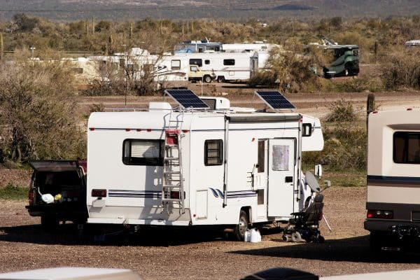 Camping without campground utilities in the Arizona desert.