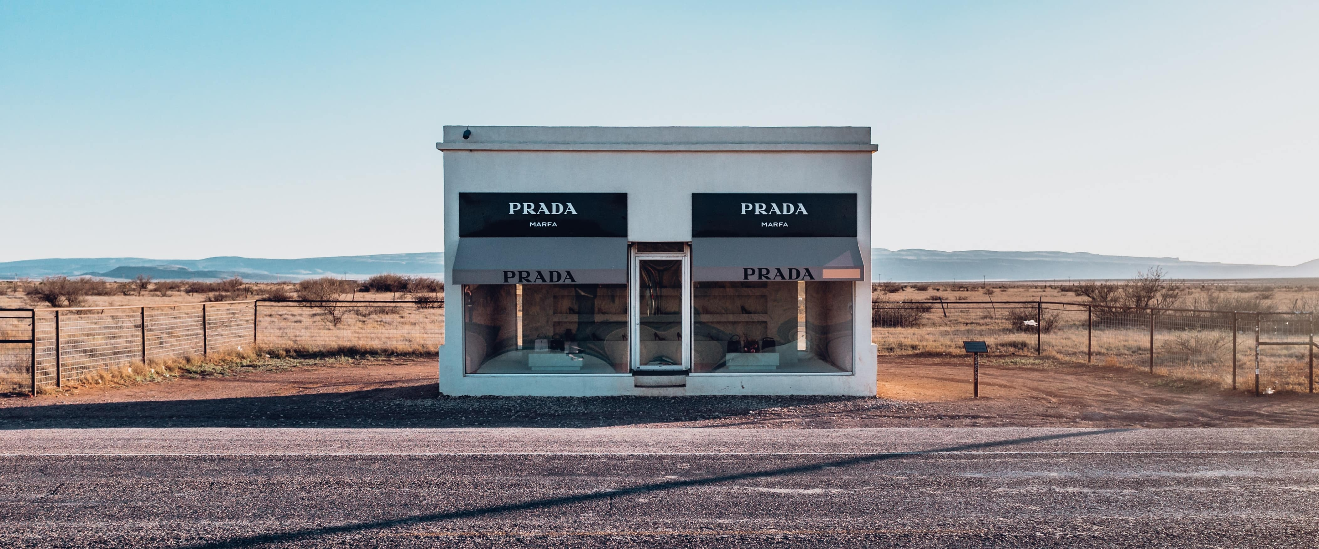 The iconic PRADA Marfa art installation sits along US-90 in west Texas.
