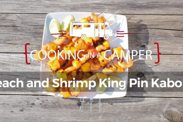 Peach and shrimp king pin kabobs