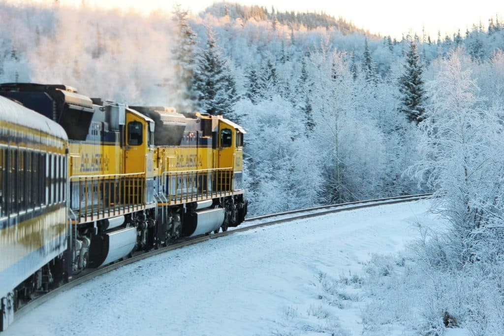 Denali Star Train in Snow