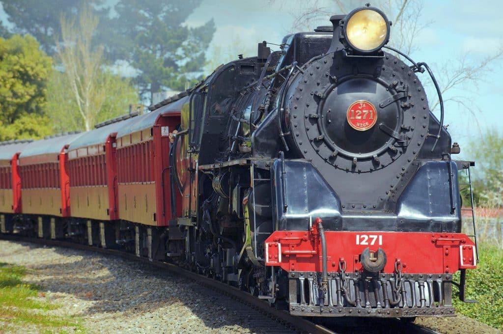 Steam Train on Tracks