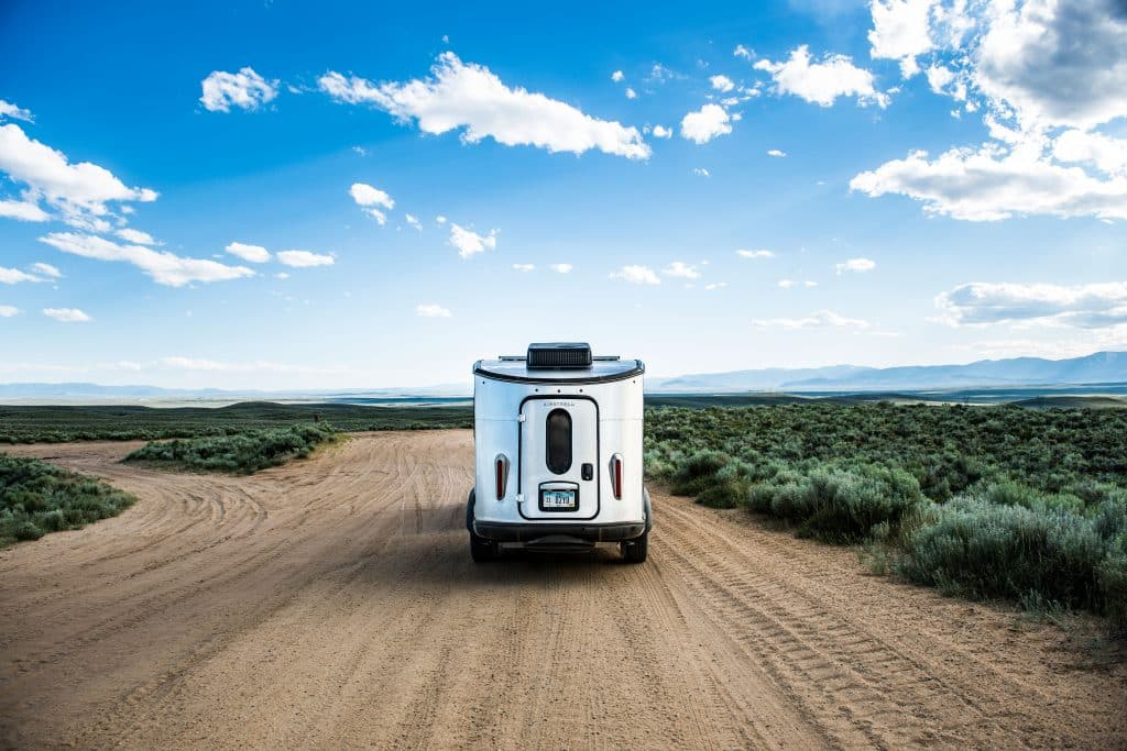 Airstream Basecamp on a dirt road