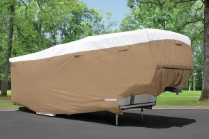 Fifth-wheel RV under an RV cover