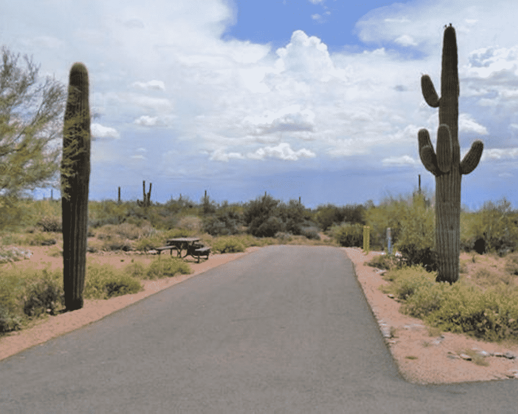 View of a desert campsite