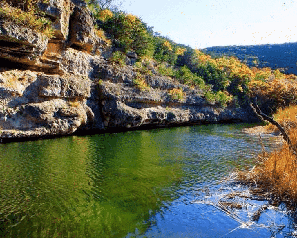 Scenic fall view of a Guadalupe River Canyon