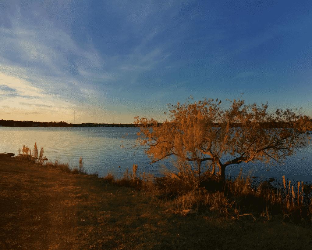 Scenic fall view of Lake LBJ