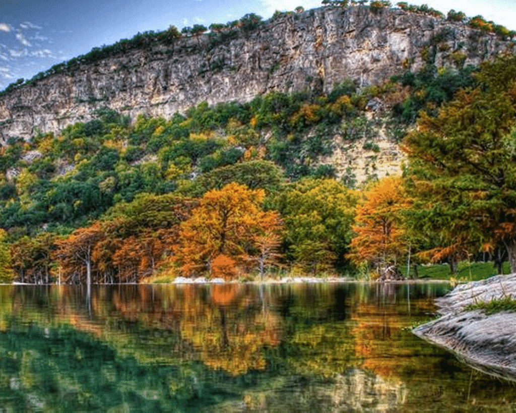 Scenic Fall view at Garner State Park