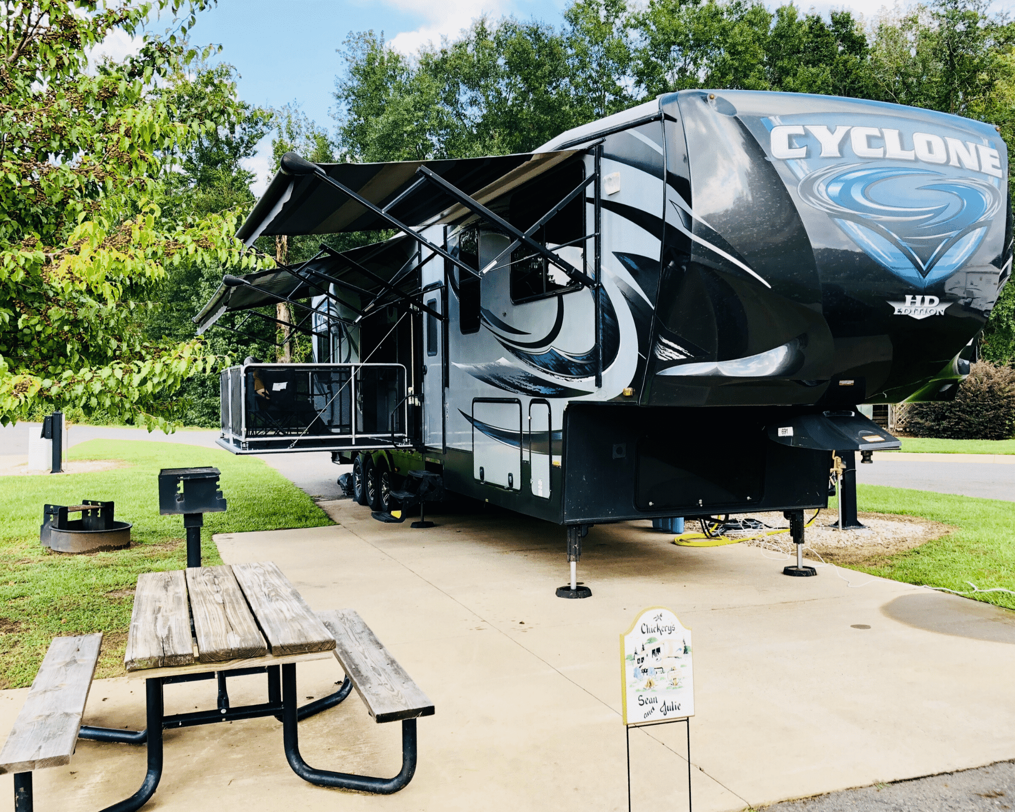 Fifth Wheel RV at campsite