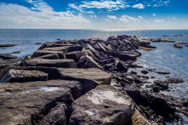 Rocky beach of Brenton Point State Park in Rhode Island