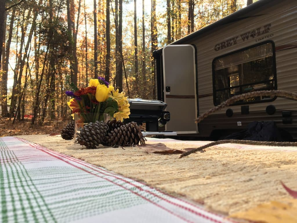 Thanksgiving table and camper