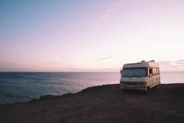 RV parked by the ocean