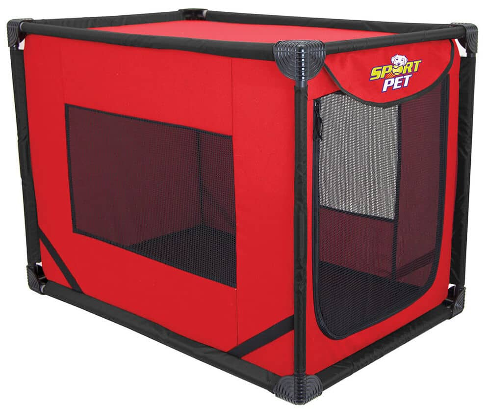 Dog camping crate without a dog in it