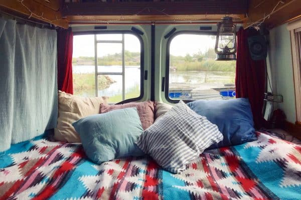 A van in the √Öland archipelago, Finland. Vanlife.