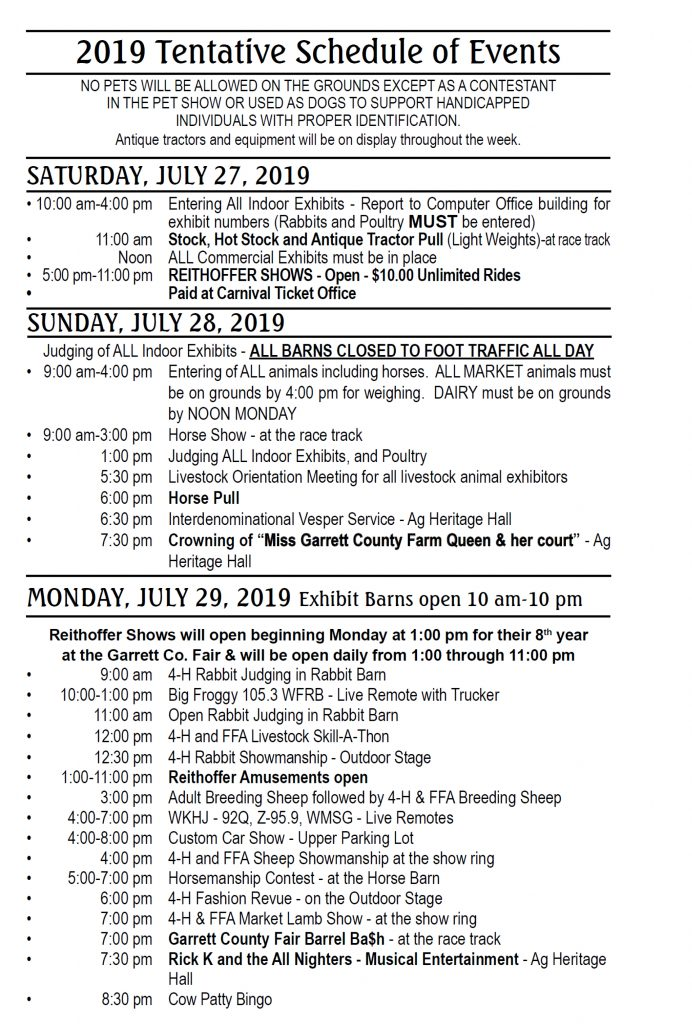 Garrett County Fair Schedule