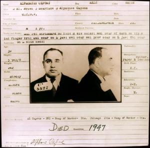 Fotografía cedida sin fecha de la ficha carcelaria del gánster Al Capone en la Penitenciaría de Filadelfia (EE.UU.). Agencia EFE.