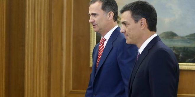 El rey Felipe VI y Pedro Sánchez, líder del PSOE. Archivo