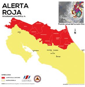Mapa de Alerta Roja por impacto de tormenta Otto.