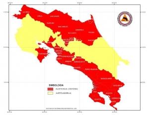 Mapa de zonas de riesgo con alerta roja y amarilla. CNE