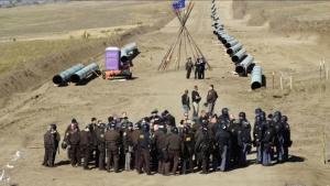 Protesta indígena en Dakota del Norte. .Foto Democracynow.org.
