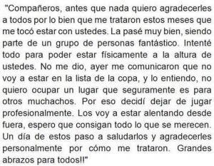 La carta de Pablo Aimar a sus compañeros, en la que les comunicó su decisión de retirarse del fútbol.