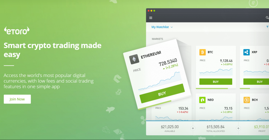 eToro's Trader Friendly Features set to take on the likes of Coinbase