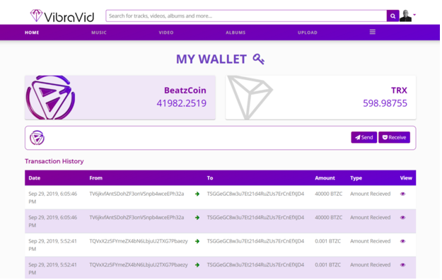 All VibraVid users have an auto-generated wallet that securely stores the user's BTZC and TRX tokens